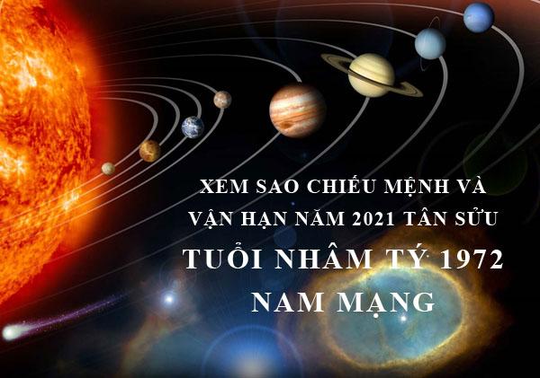 Xem sao chiếu mệnh và vận hạn năm 2021 cho tuổi Nhâm Tý 1972 nam mạng